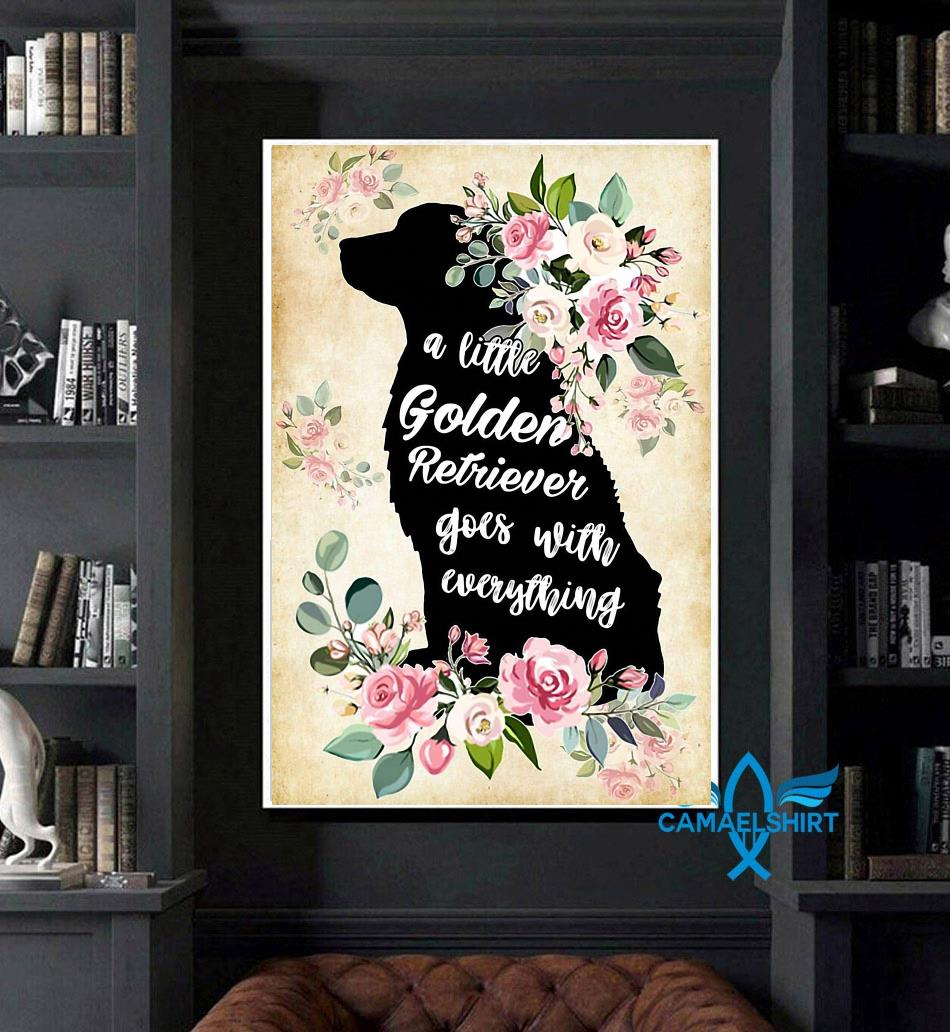 A little golden retriever go with everything poster art
