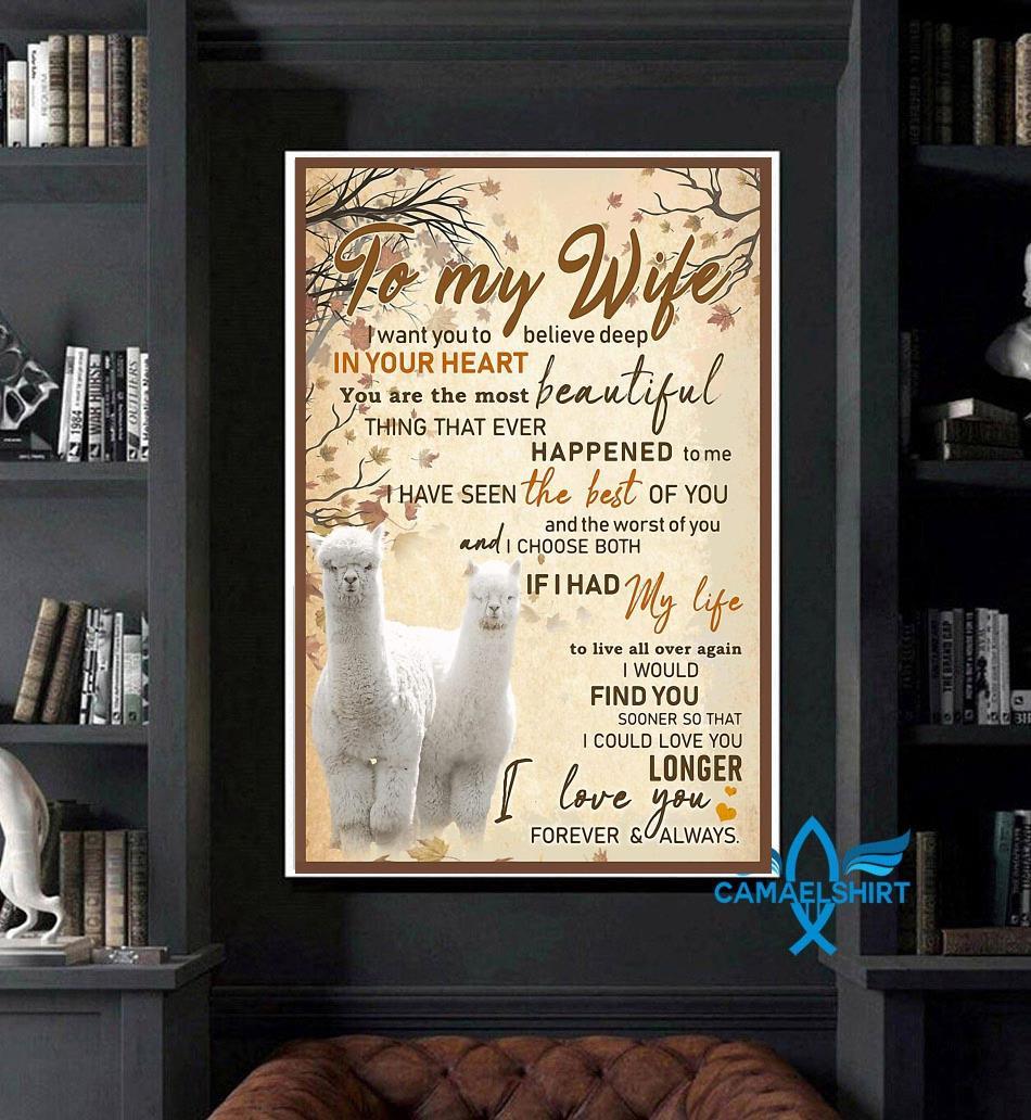 Alpaca couple husband to my wife poster art