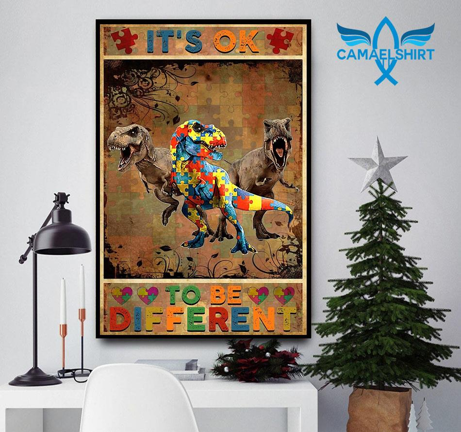 Autism Dinosaur it's okay to be different poster