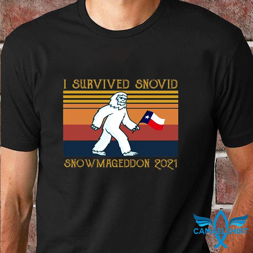 I survived snovid snowmageddon 2021 vintage t-shirt