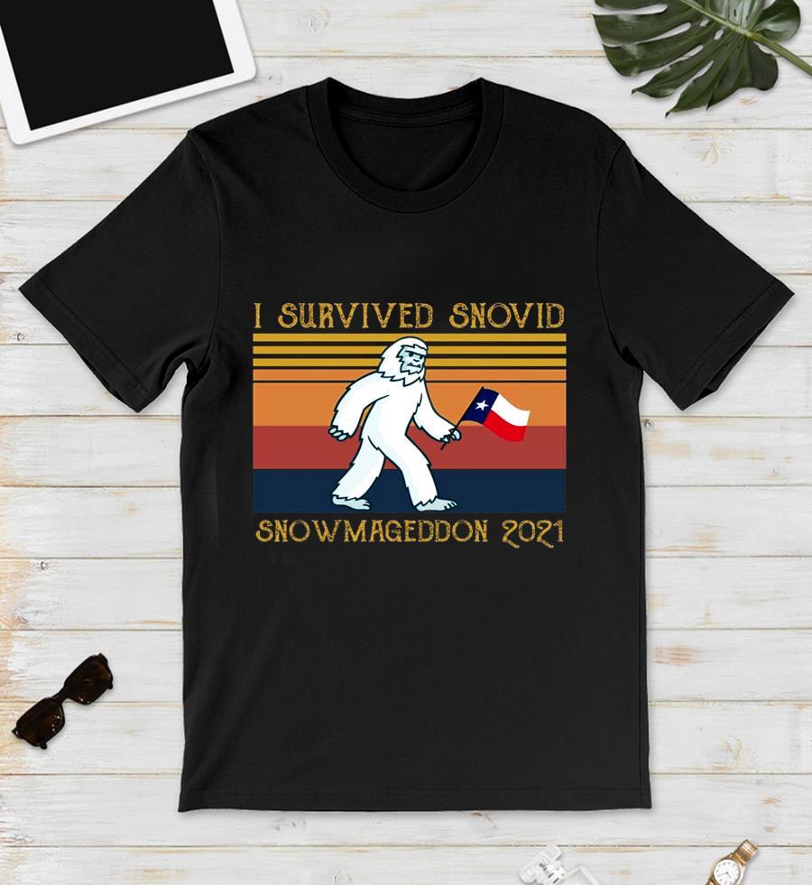 I survived snovid snowmageddon 2021 vintage t-s unisex