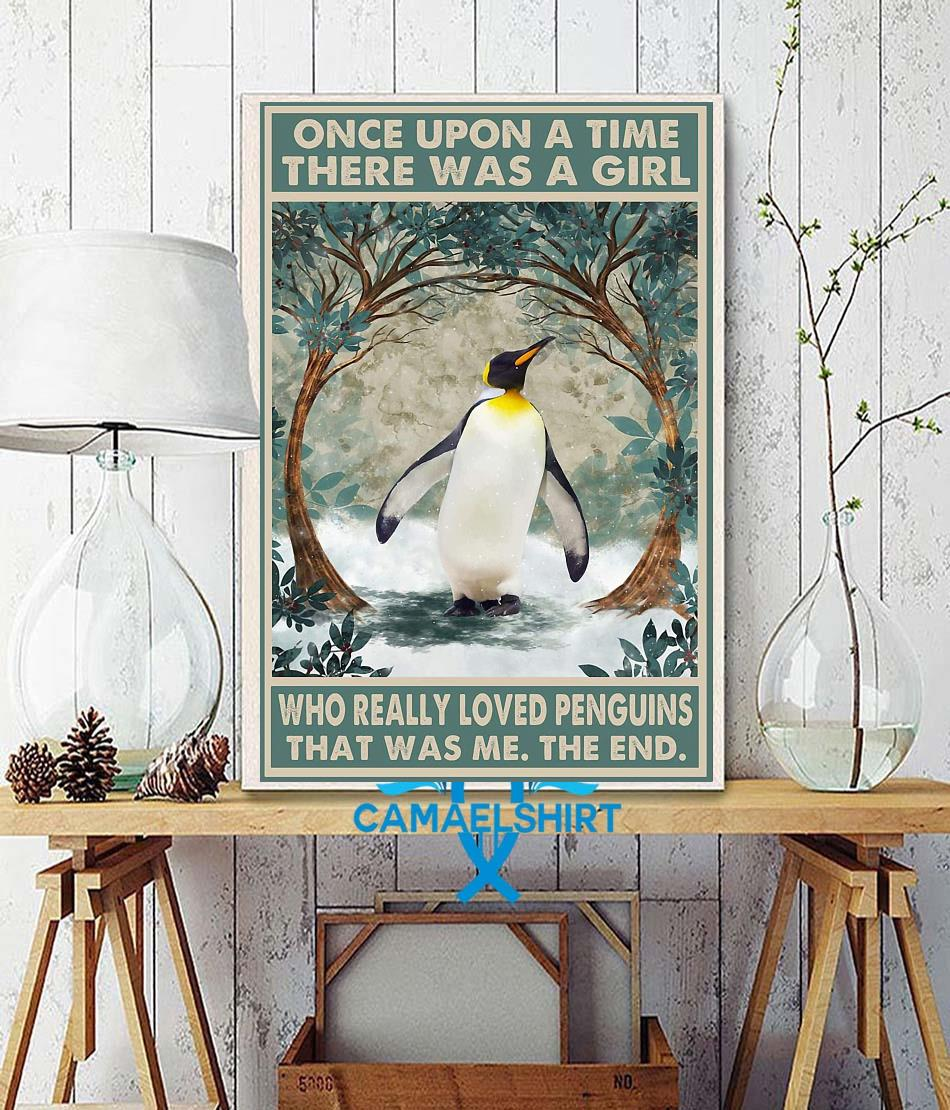 Once upon a time a girl who really loved Penguins poster canvas wall decor