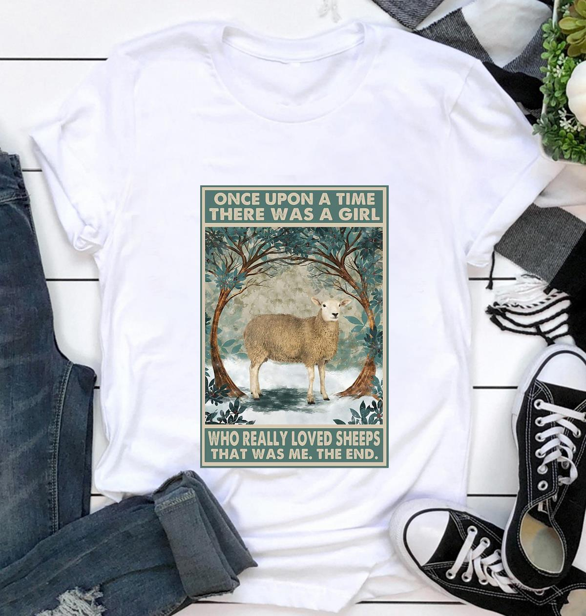Once upon a time a girl who really loved Sheeps vintage poster t-shirt