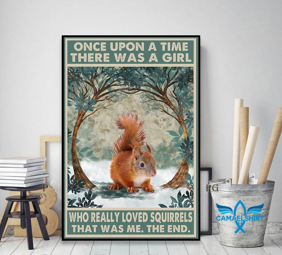 Once upon a time a girl who really loved Squirrel vintage forest poster decor art