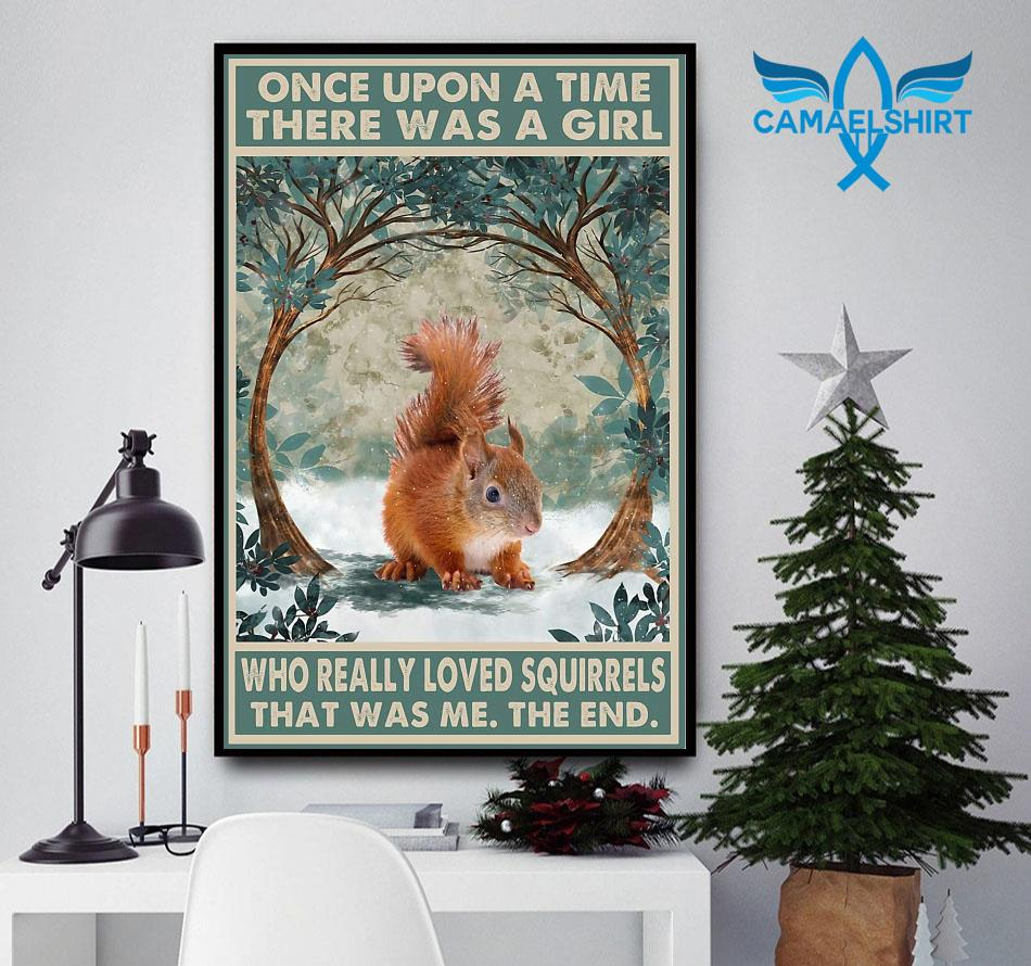 Once upon a time a girl who really loved Squirrel vintage forest poster