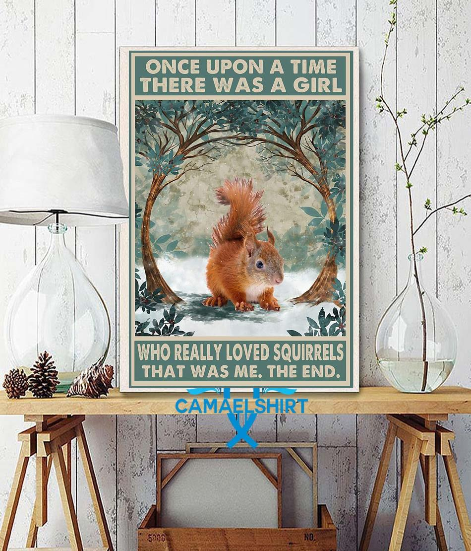 Once upon a time a girl who really loved Squirrel vintage forest poster wall decor