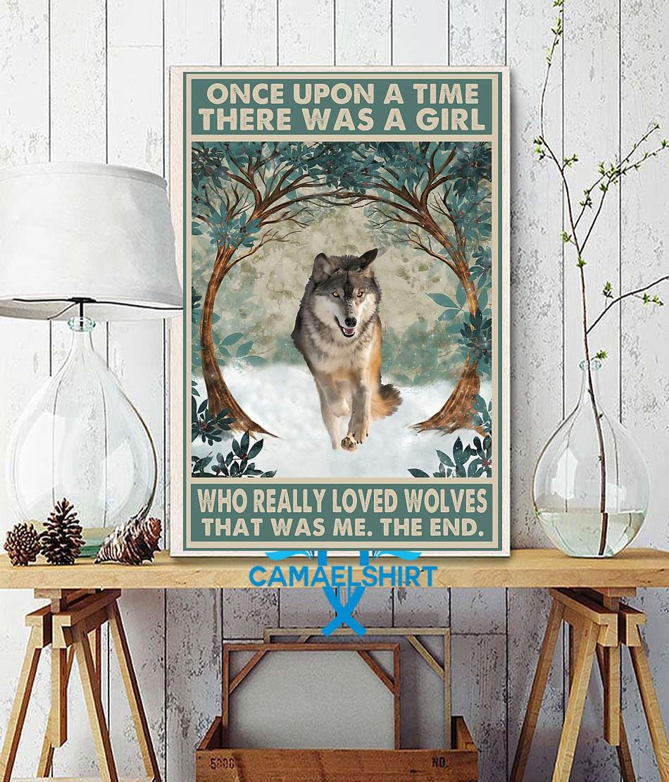 Once upon a time a girl who really loved wolves vintage poster wall decor