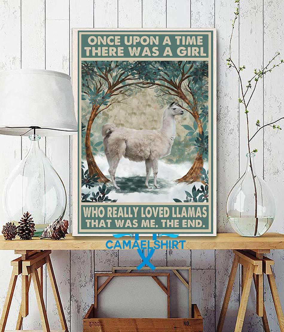 Once upon a time girl really loved Llamas poster wall decor