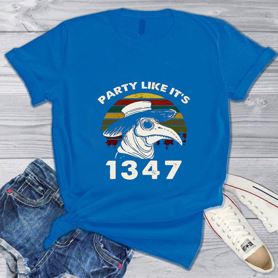Plague Doctor vintage party like it's 1347 t-s blue
