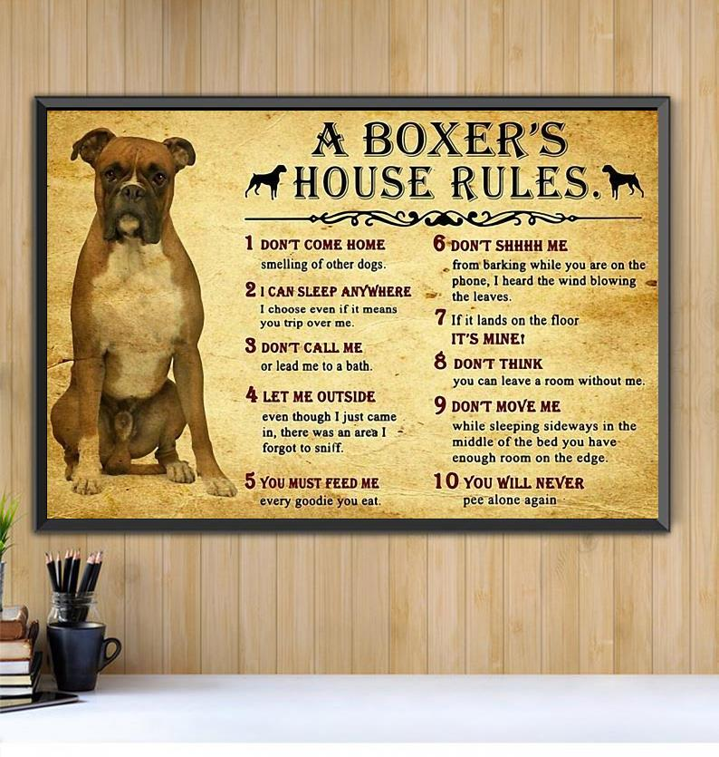 A boxer's house rules horizontal canvas Black canvas