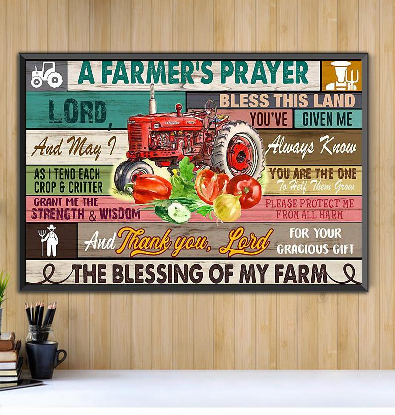 A Farmer's Prayer print canvas Black canvas