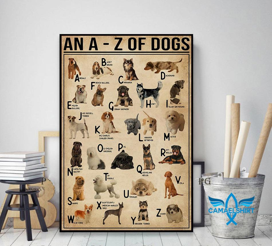 An A - Z of dogs poster canvas decor art
