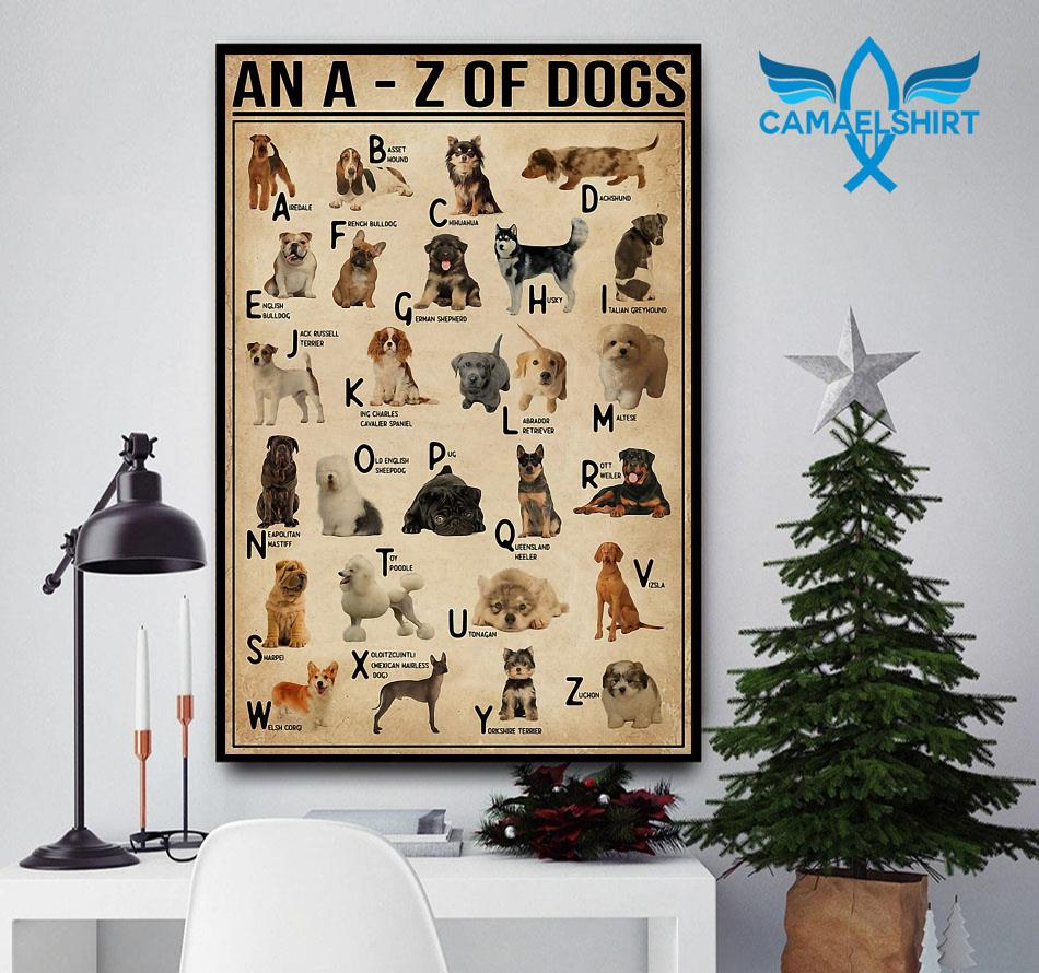 An A - Z of dogs poster canvas