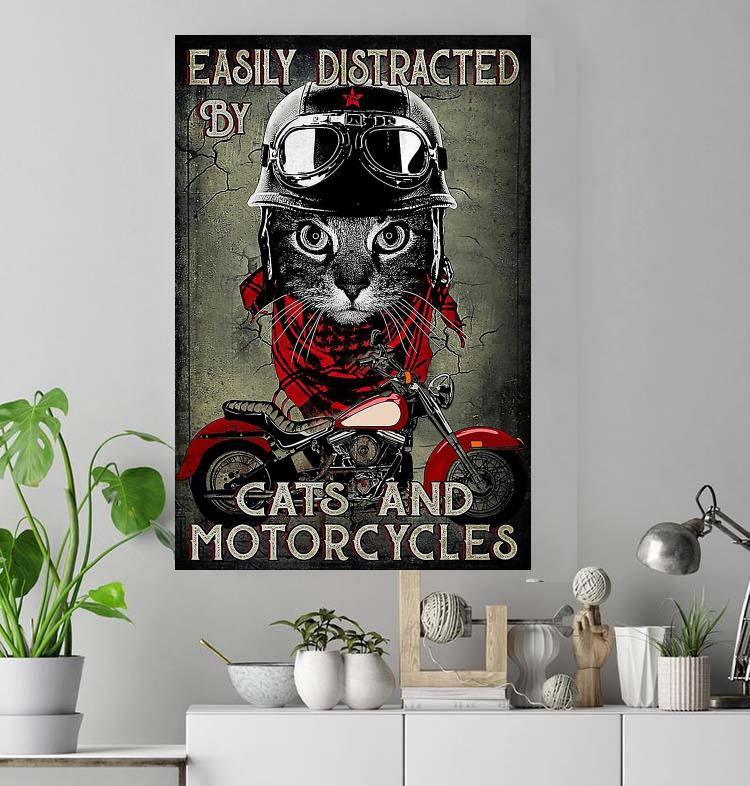 Easily distracted by cats and motorcycles black cat lovers poster