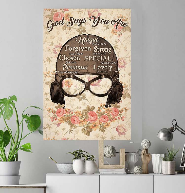 Floral pilot woman God says you are poster