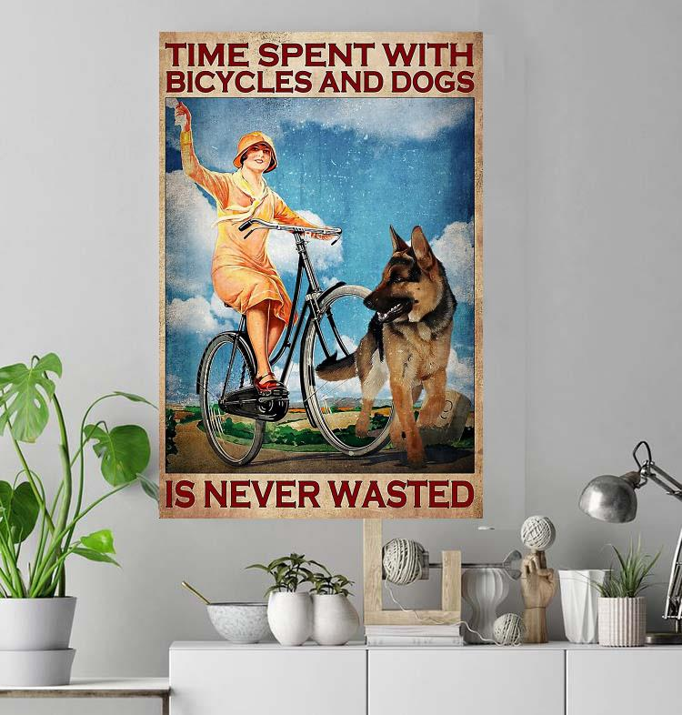 Vintage girl time spent with bicycles and dogs is never wasted poster