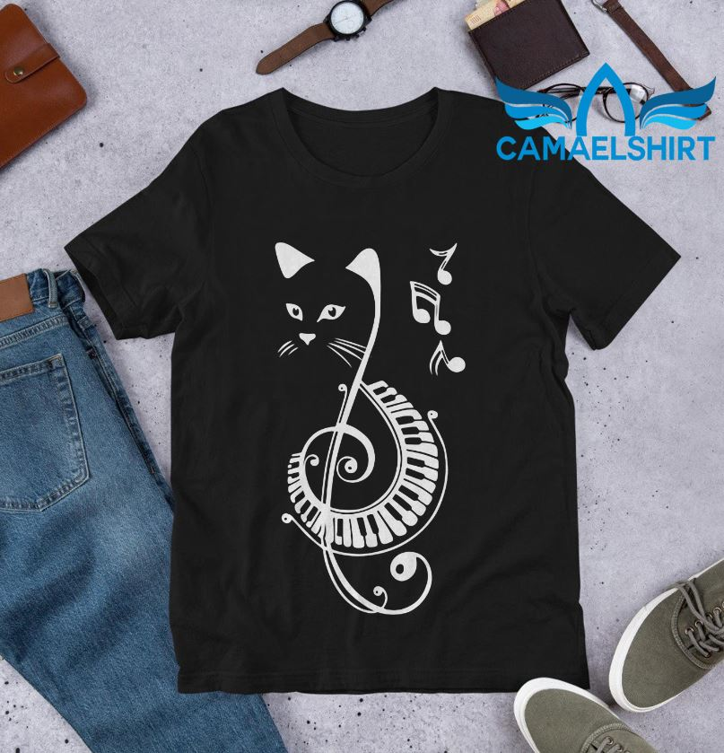 Cat piano music note shirt