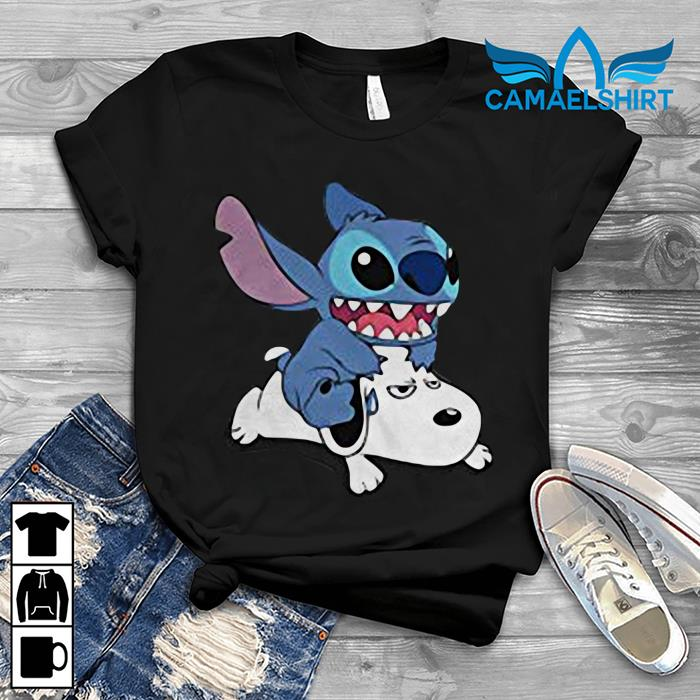 Stitch riding Snoopy t-shirt