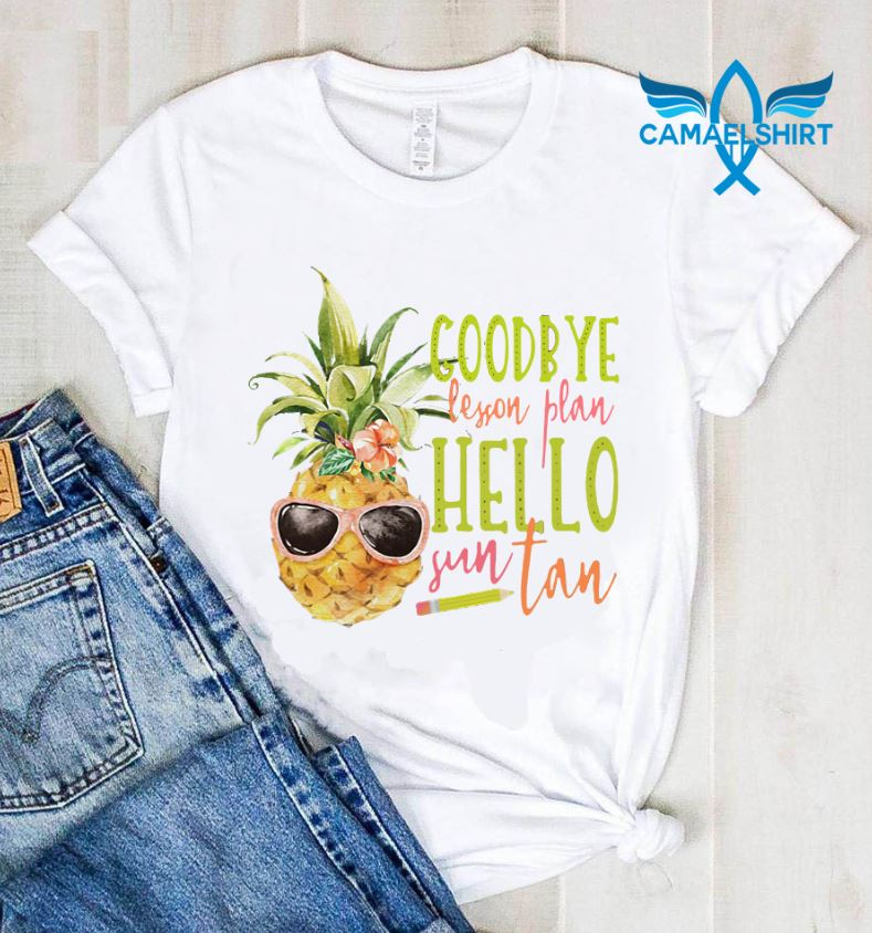 Teacher say goodbye lesson plan hello sun tan shirt