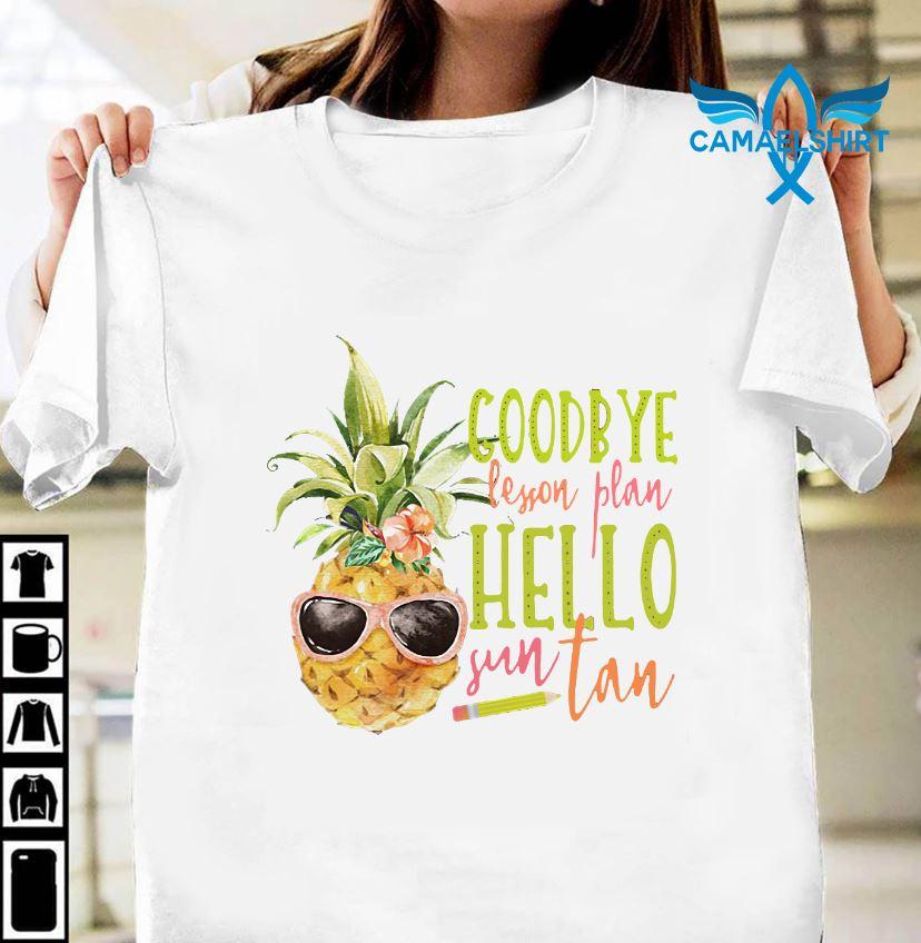 Teacher say goodbye lesson plan hello sun tan shirt