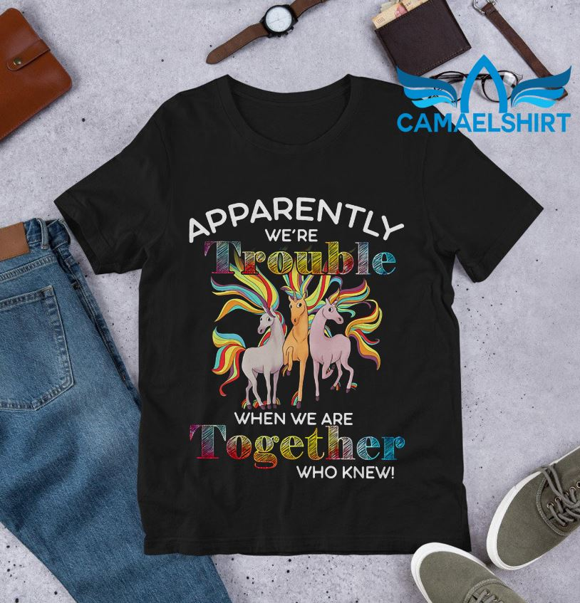 Unicorn apparently were trouble when we are together who knew shirt