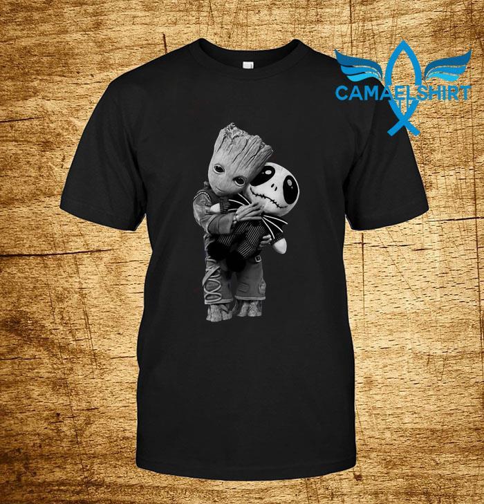 Baby Groot hugs Jack Skellington shirt