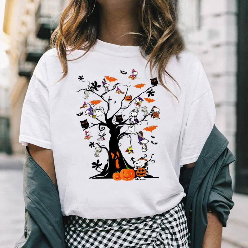 Snoopy witch Halloween tree shirt