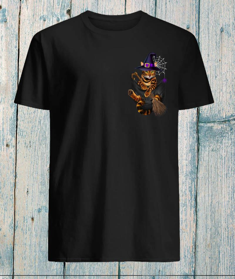 Witch cat in the pocket cat lover halloween shirt