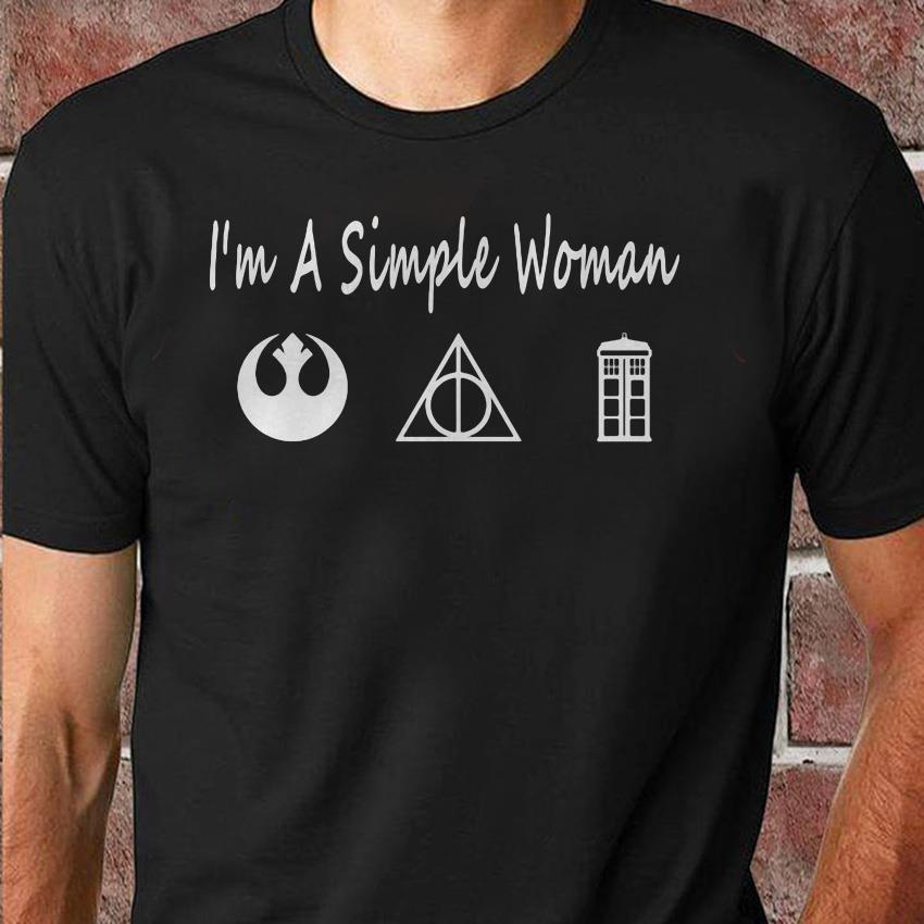 I'm a simple woman Deathly Hallows Star Wars and Doctor Who unisex shirt