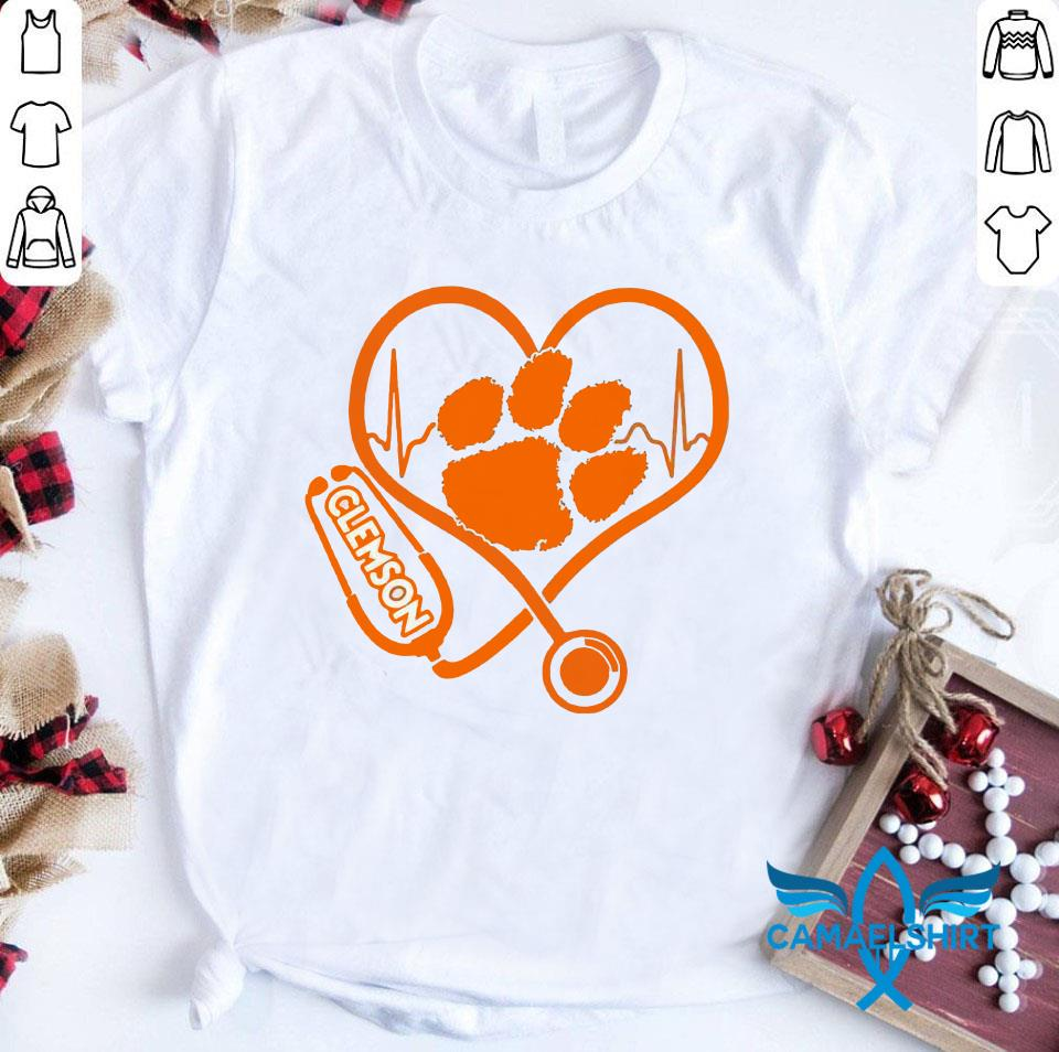 Nurse Clemson Tigers heartbeat t-shirt