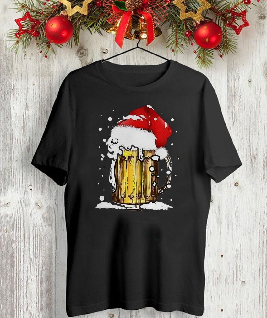 Beer santa claus hat t-shirt