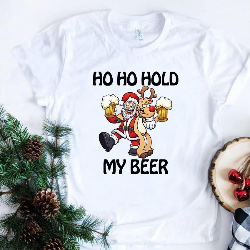 Ho ho hold my beer santa beer drinking Christmas t-shirt