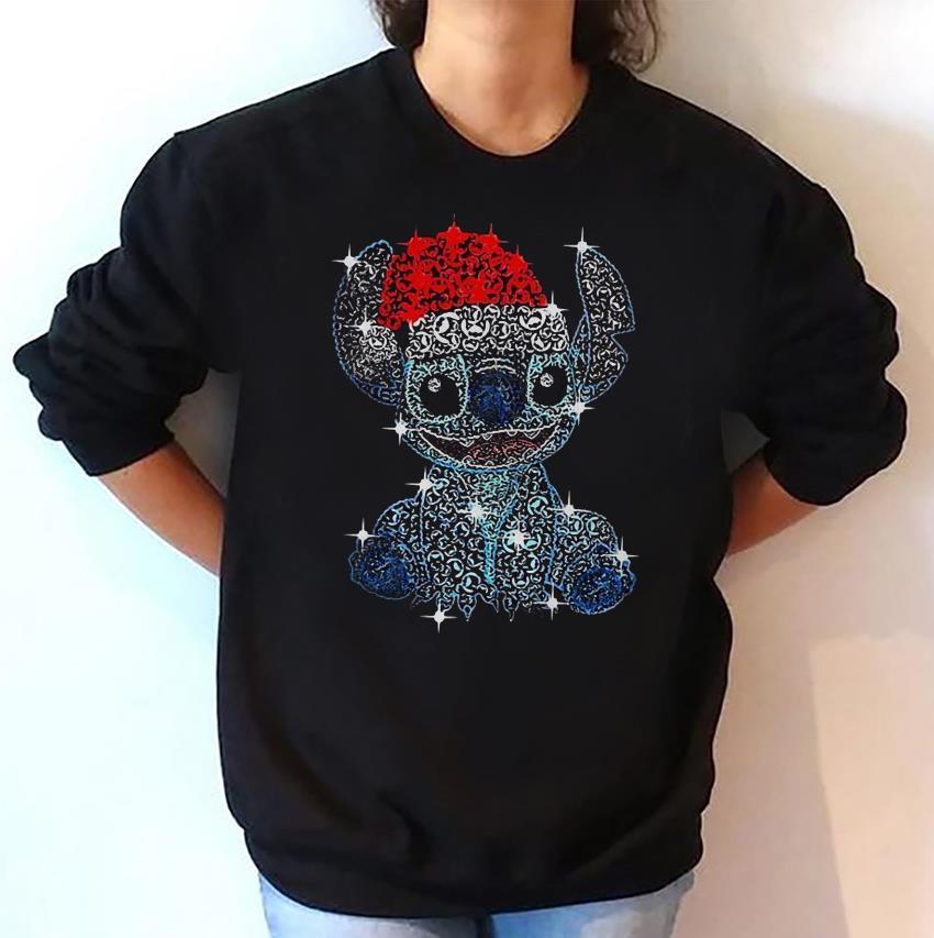 Stitch Christmas glitter face pattern sweat-shirt