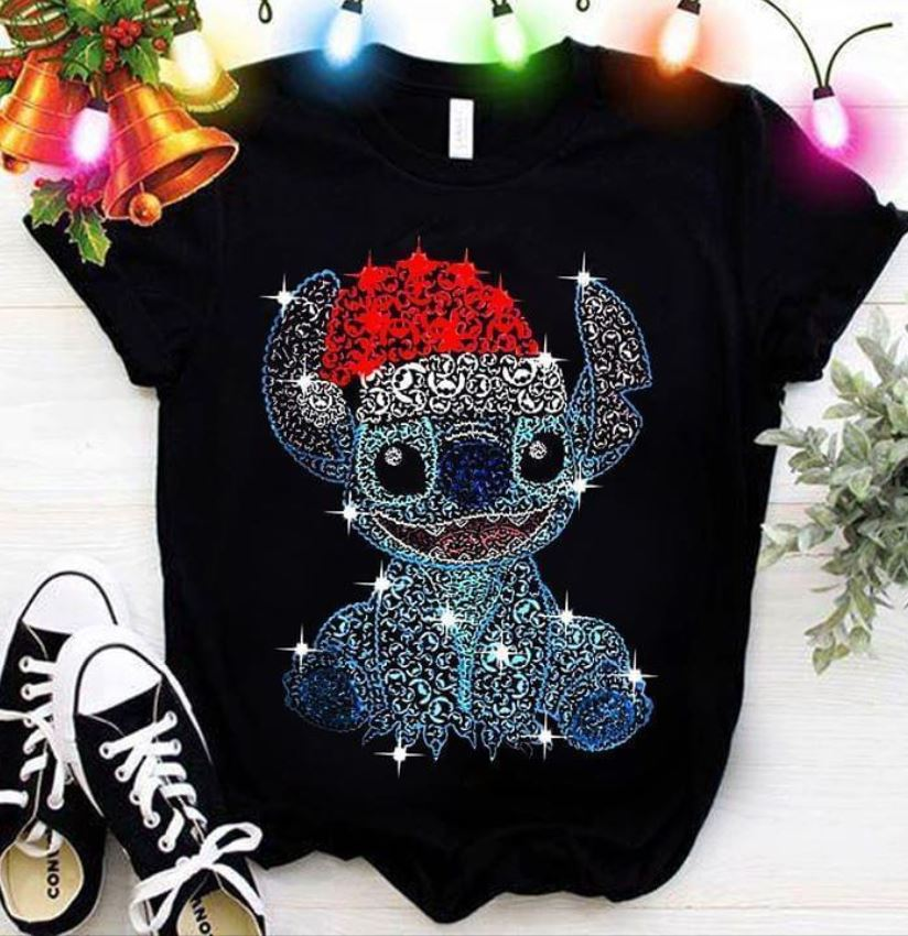 Stitch Christmas glitter face pattern t-shirt