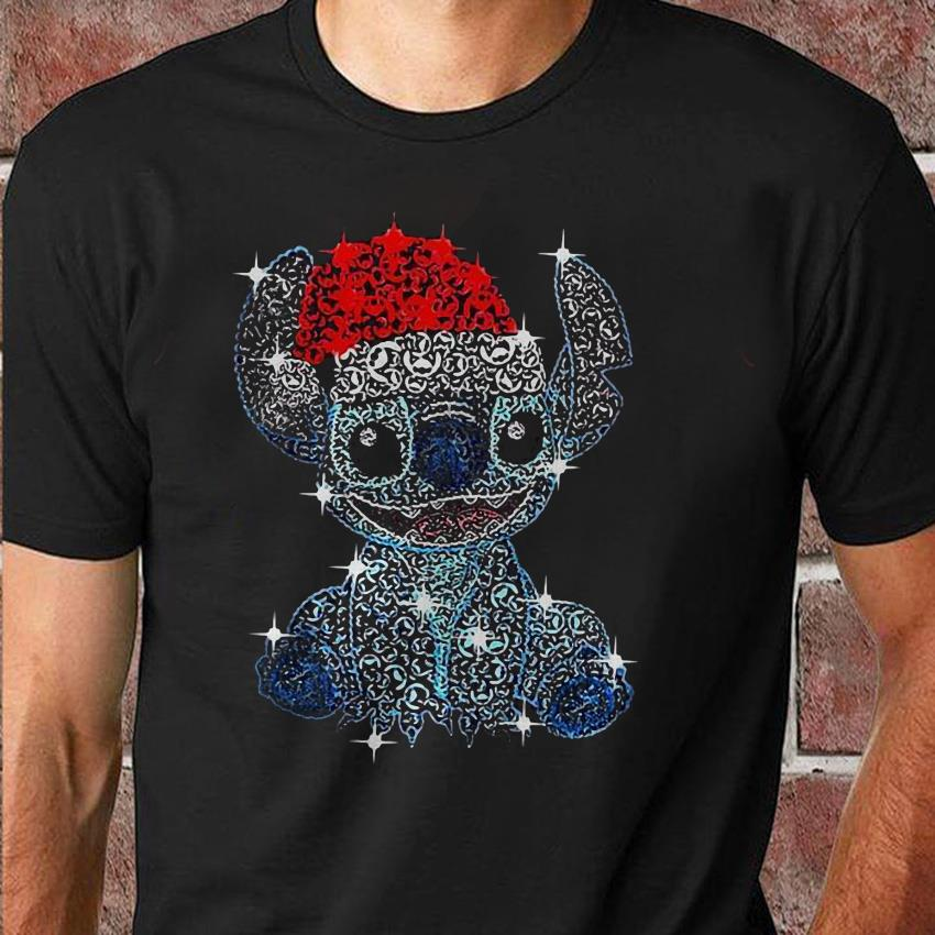 Stitch Christmas glitter face pattern unisex shirt