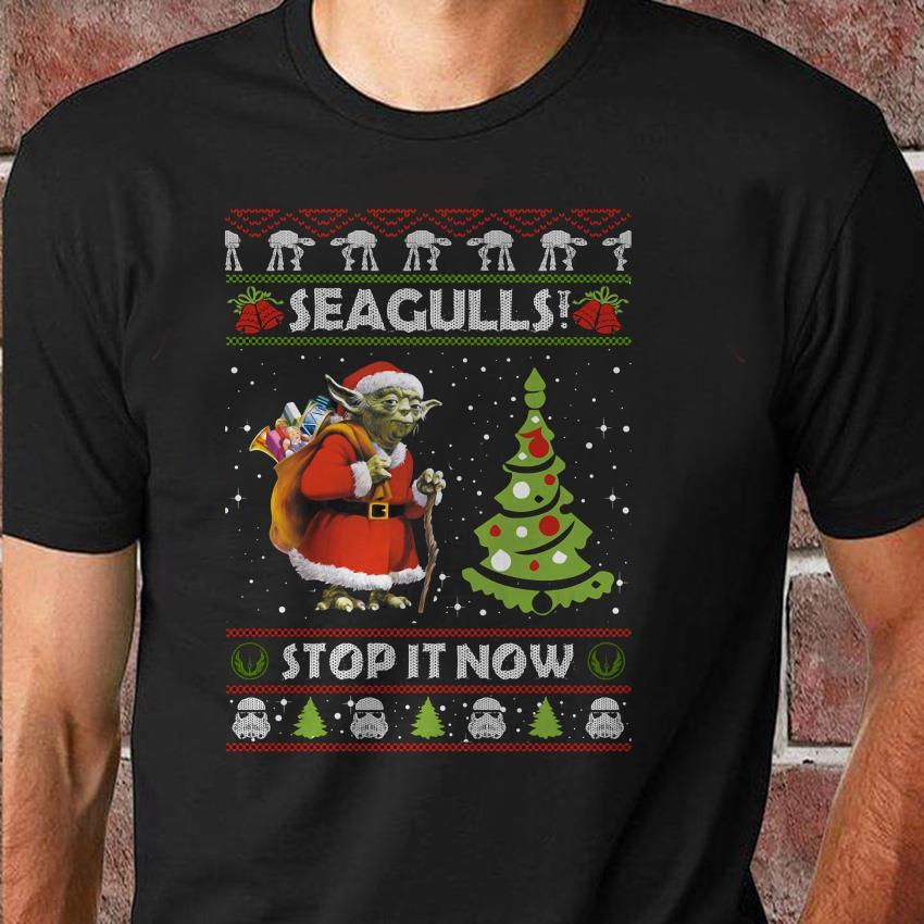 Yoda santa seagulls stop it now Christmas unisex shirt