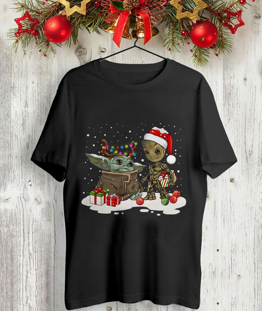 Baby Yoda and Baby Groot Christmas t-shirt