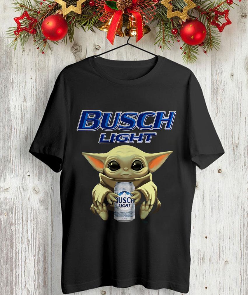 Baby Yoda holding Busch Light beer t-shirt