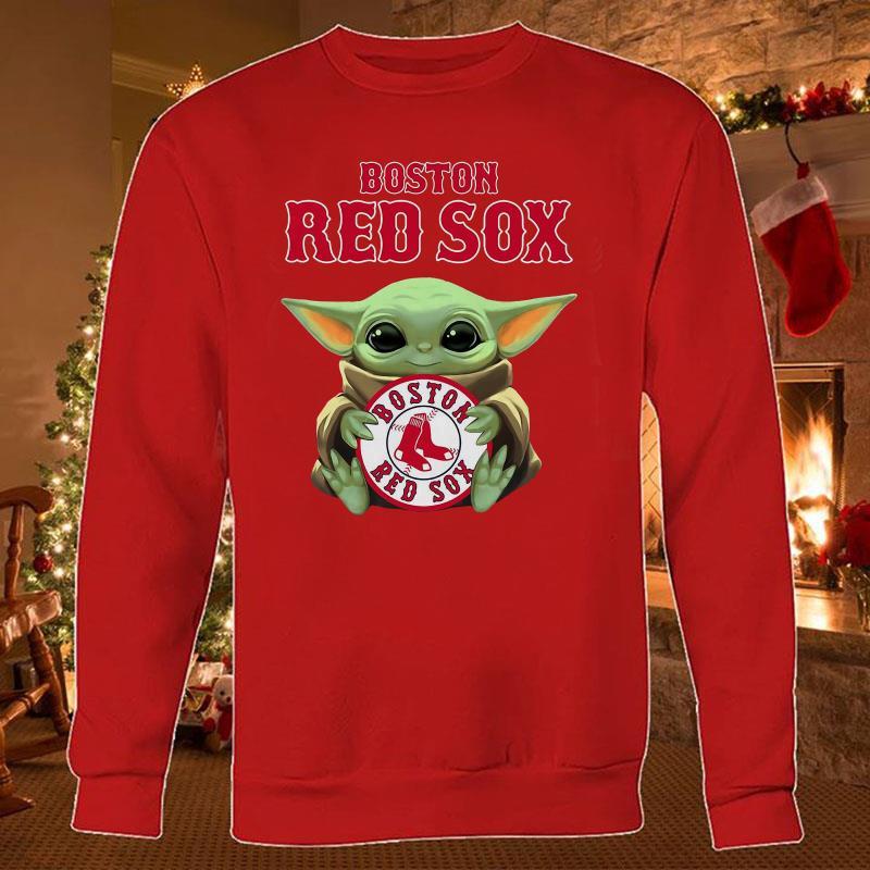 Baby Yoda hug Boston Red Sox sweatshirt