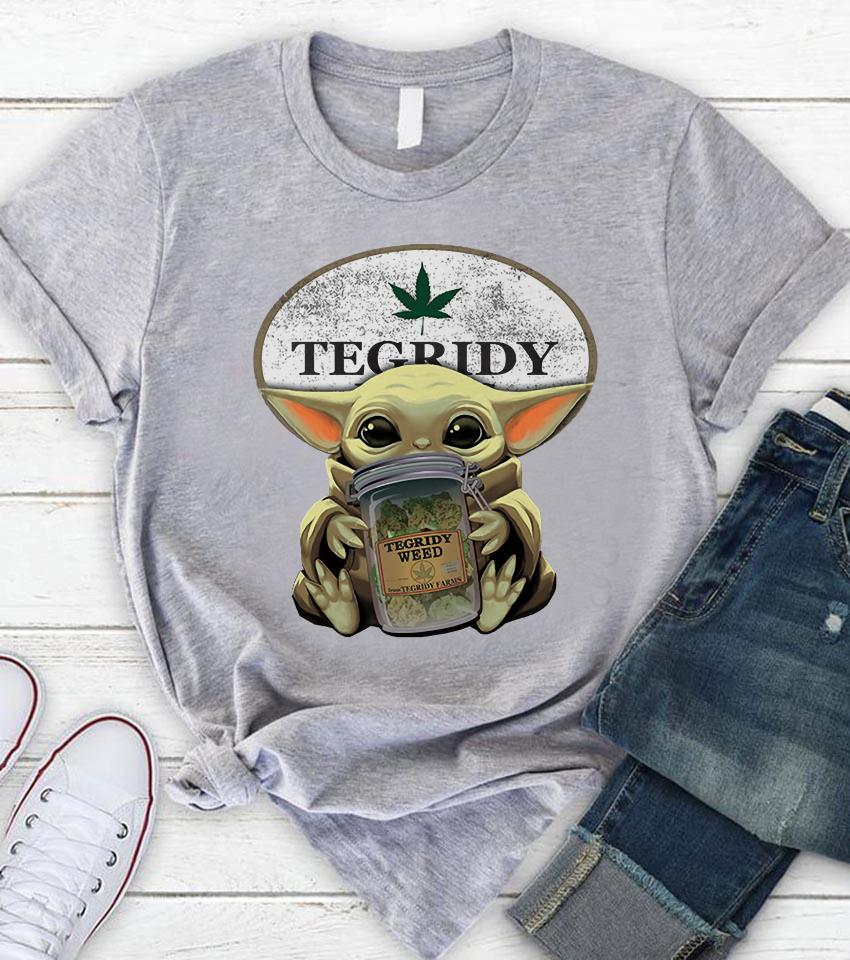 Baby Yoda hug Tegridy Weed farm unisex t-shirt