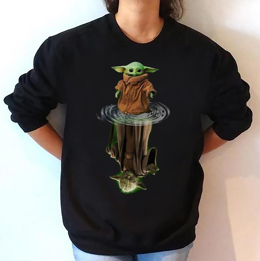 Mandalorian Baby Yoda Star Wars water reflection sweat t-shirt