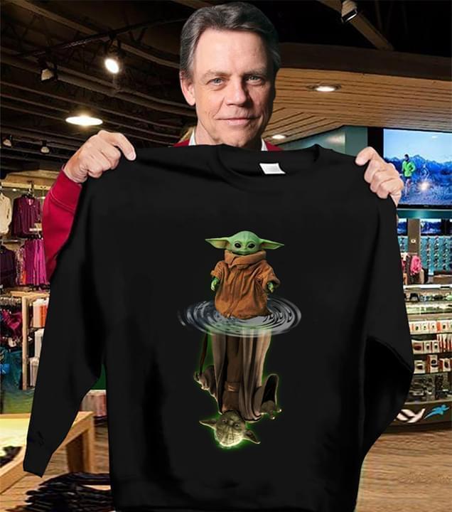 Mandalorian Baby Yoda Star Wars water reflection t-shirt
