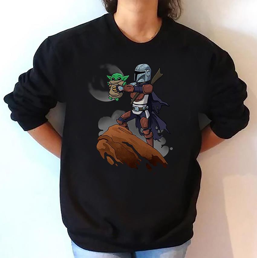 Mandalorian holding Baby Yoda Lion King sweatshirt