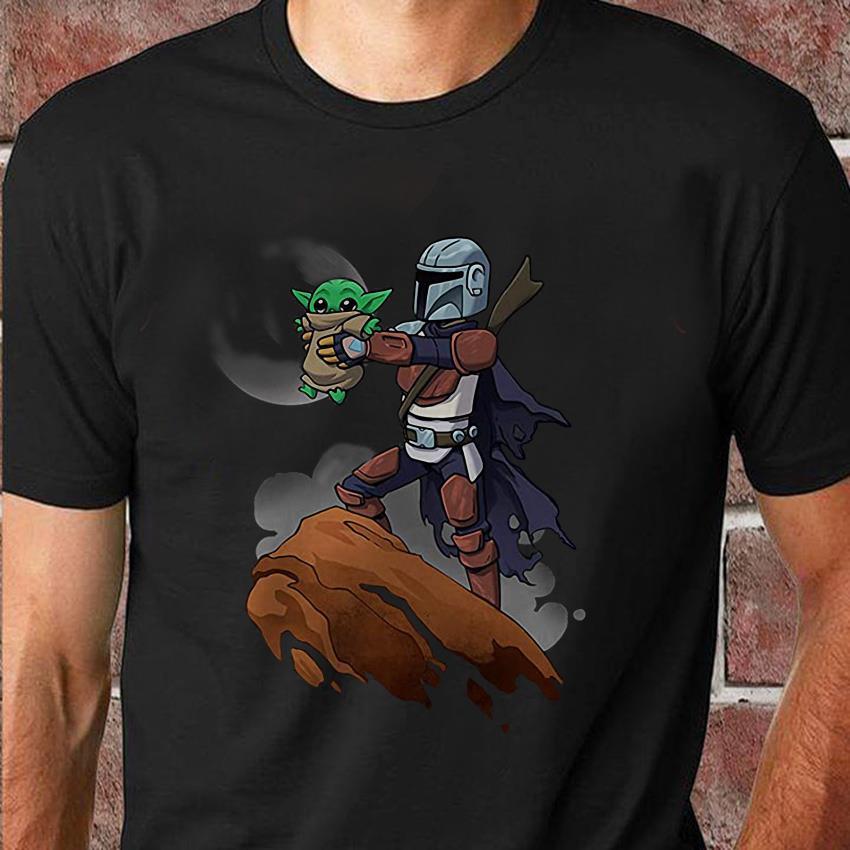 Mandalorian holding Baby Yoda Lion King unisex t-shirt