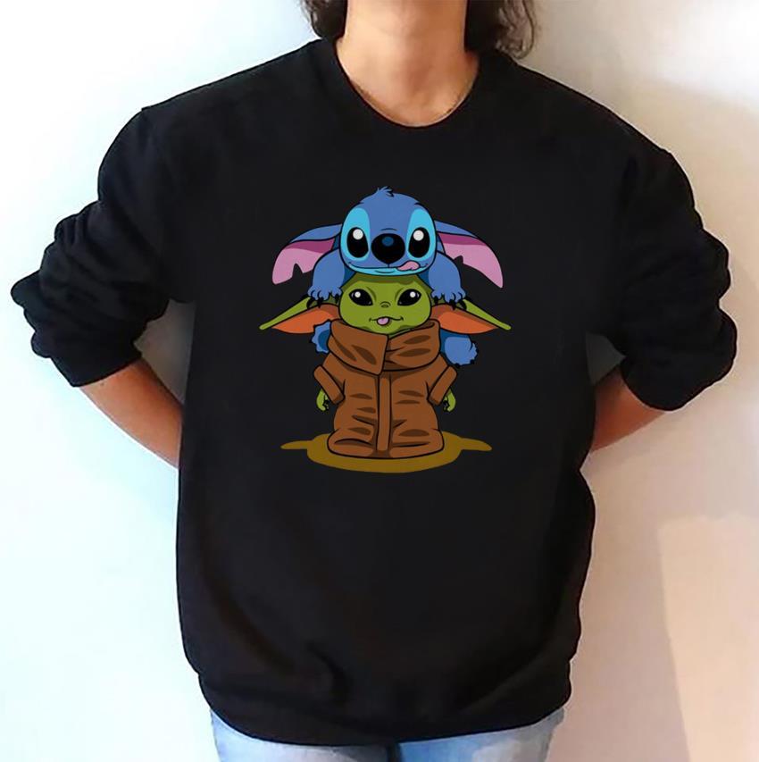 Stitch and baby Yoda friend Christmas sweatshirt