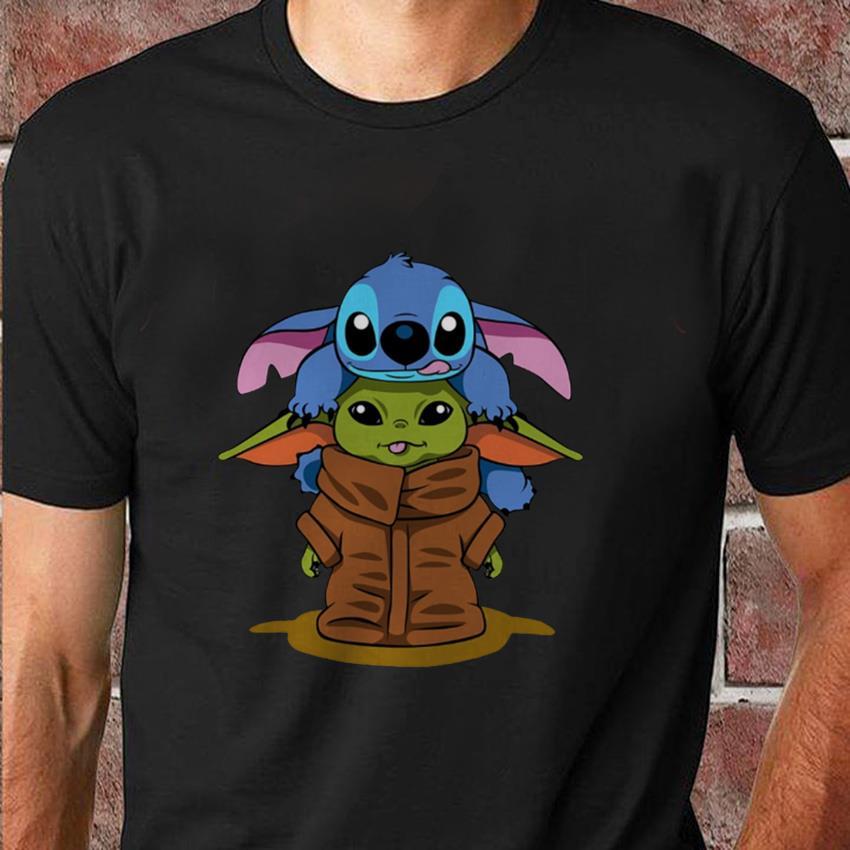 Stitch and baby Yoda friend Christmas unisex t-shirt