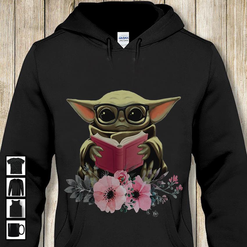 Baby Yoda flower reading book hoodie-shirt