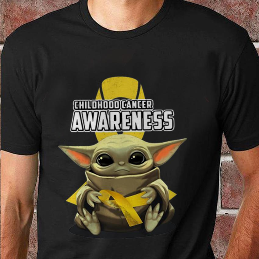 Baby Yoda hug childhood cancer awareness t-shirt