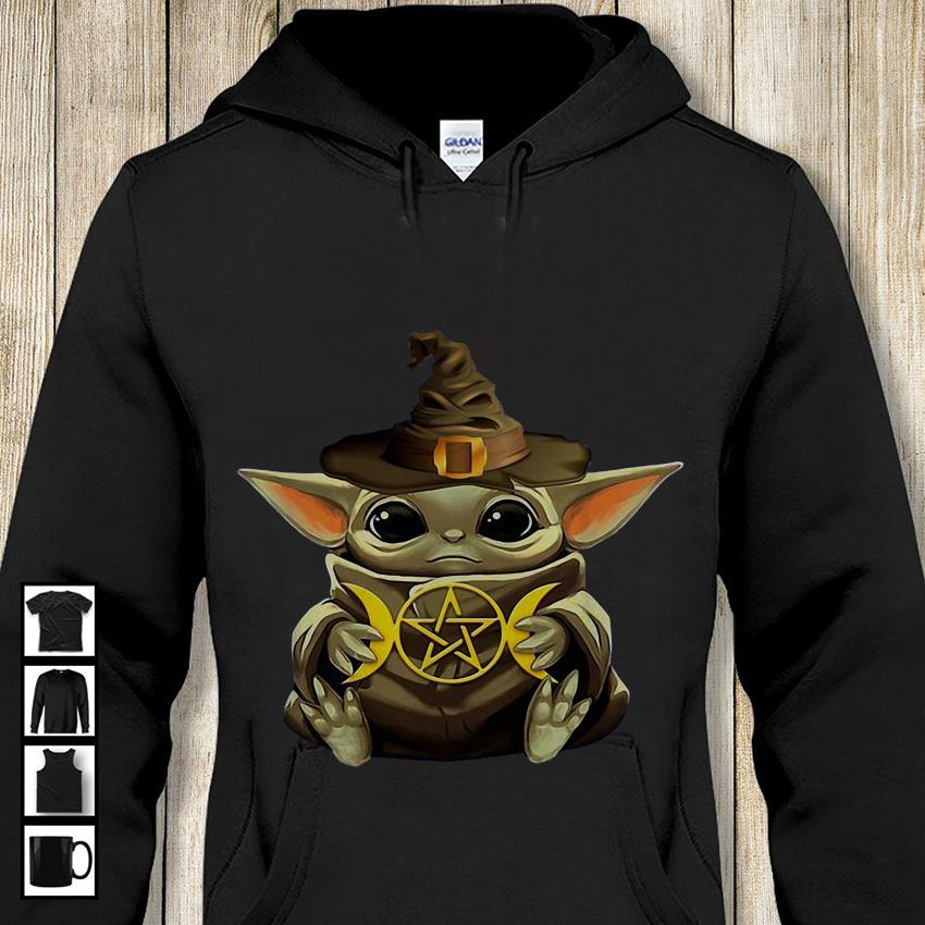 Baby Yoda hug Harry Potter symbol hoodie-shirt