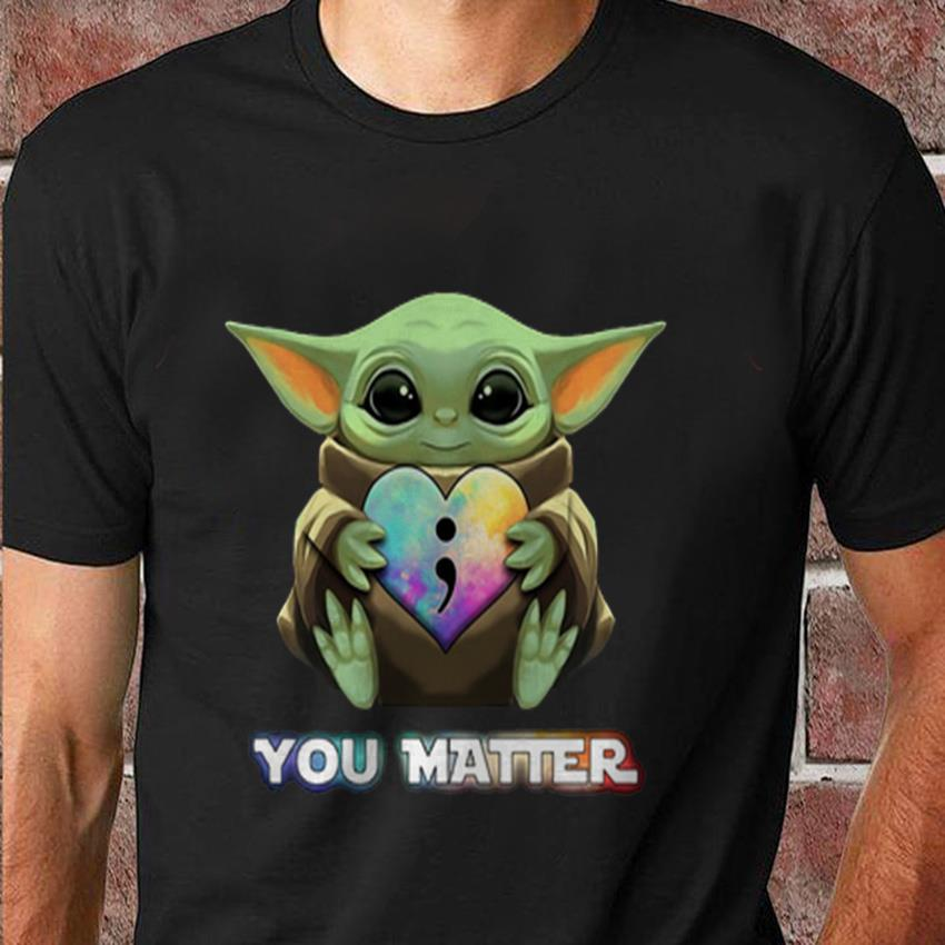 Baby Yoda hug Suicide prevention you matter t-shirt